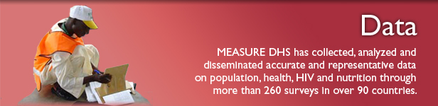 MEASURE DHS has collected, analyzed and disseminated accurate and representative data on population, health, HIV and nutrition through more than 260 surveys in over 90 countries.