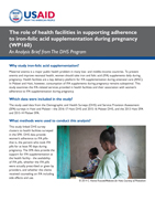 Cover of The role of health facilities in supporting adherence to iron-folic acid supplementation during pregnancy (Analysis Brief) (English)