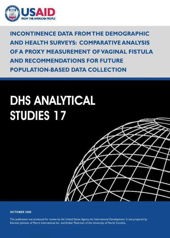 Cover of Incontinence Data from the Demographic and Health Surveys: Comparative Analysis of a Proxy Measurement of Vaginal Fistula and Recommendations for Future Population-Based Data Collection (English)