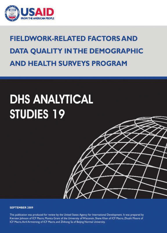 Cover of Fieldwork-Related Factors and Data Quality in the Demographic and Health Surveys Program (English)