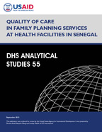 Cover of Quality of Care in Family Planning Services at Health Facilities in Senegal (English, French)