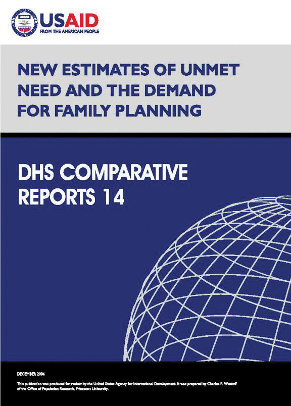 Cover of New Estimates of Unmet Need and the Demand for Family Planning (English)