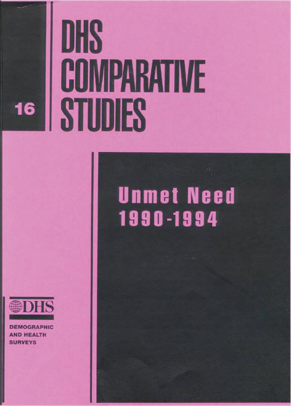 Cover of Unmet Need: 1990-1994 (English)