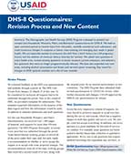 Cover of DHS8 Questionnaire Summary (English)