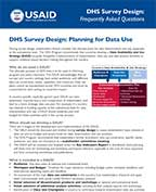 Cover of DHS Survey Design: Planning for Data Use (English, French)