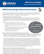 Cover of DHS Survey Design: Micronutrient Status (English)
