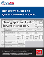 Cover of DHS User's Guide for Questionnaires in Excel (English)