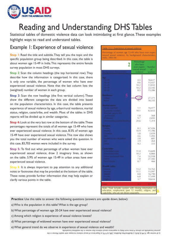 Cover of Reading Domestic Violence Tables (English)