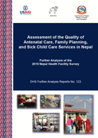 Cover of Assessment of the Quality of Antenatal Care, Family Planning, and Sick Child Care Services in Nepal (English)