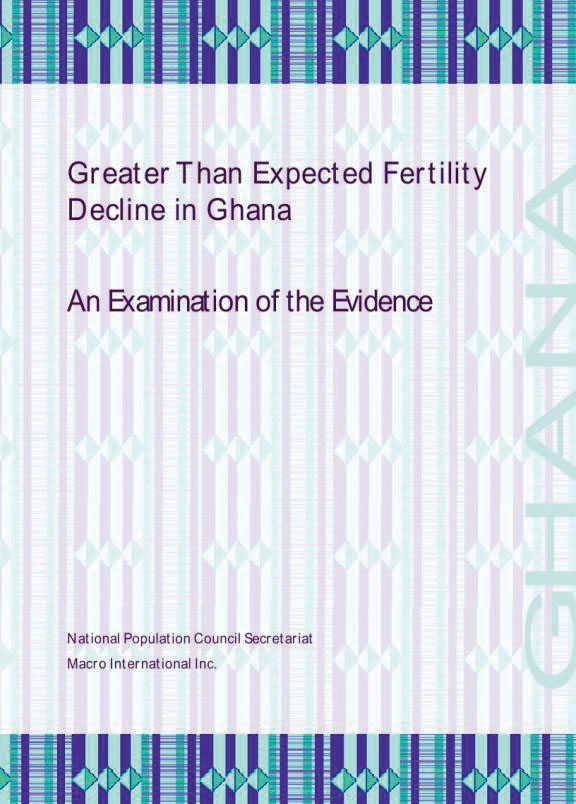 Cover of Greater Than Expected Fertility Decline in Ghana:  An Examination of the Evidence (English)
