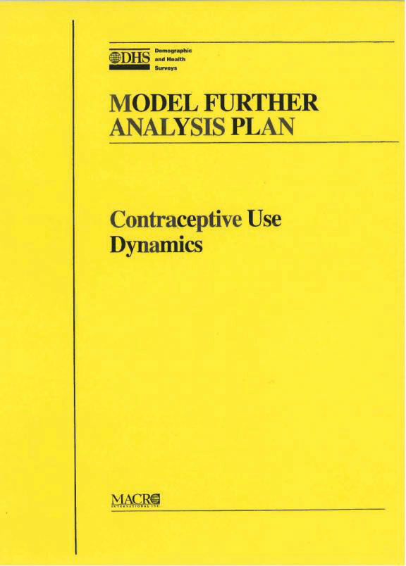 Cover of Model Further Analysis Plan: Contraceptive Use Dynamics (English)