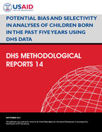 Cover of Potential Bias and Selectivity in Analyses of Children Born in the Past Five Years Using DHS Data (English)