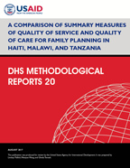 Cover of A Comparison of Summary Measures of Quality of Service and Quality of Care for Family Planning in Haiti, Malawi, and Tanzania (English)