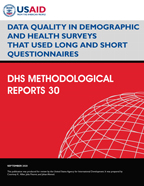 Cover of Data Quality in Demographic and Health Surveys That Used Long and Short Questionnaires (English)