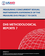 Cover of Measuring Concurrent Sexual Partnerships: Experience of the MEASURE DHS Project to Date (English)