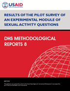 Cover of Results of the Pilot Survey of an Experimental Module of Sexual Activity Questions (English)