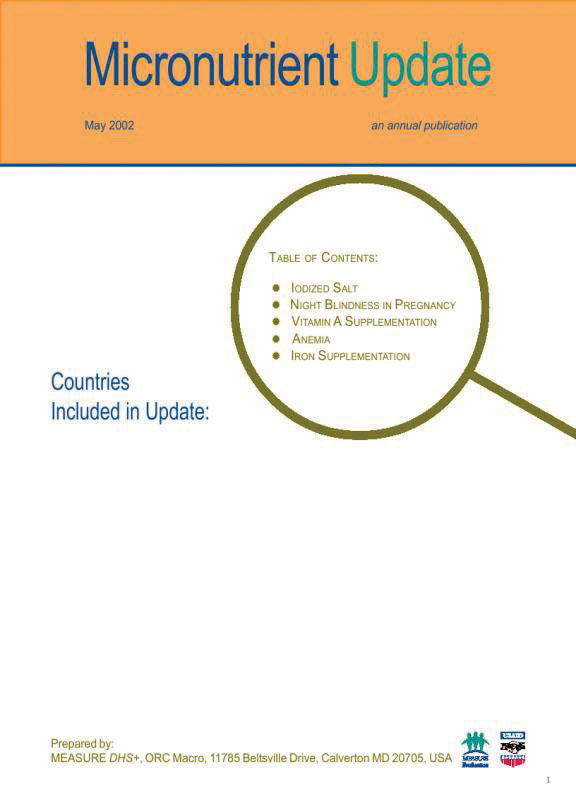 Cover of Micronutrient Update 2002 (English)