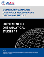 Cover of Comparative Analysis of a Proxy Measurement of Vaginal Fistula: Supplement to DHS Analytical Studies No. 17 (English)