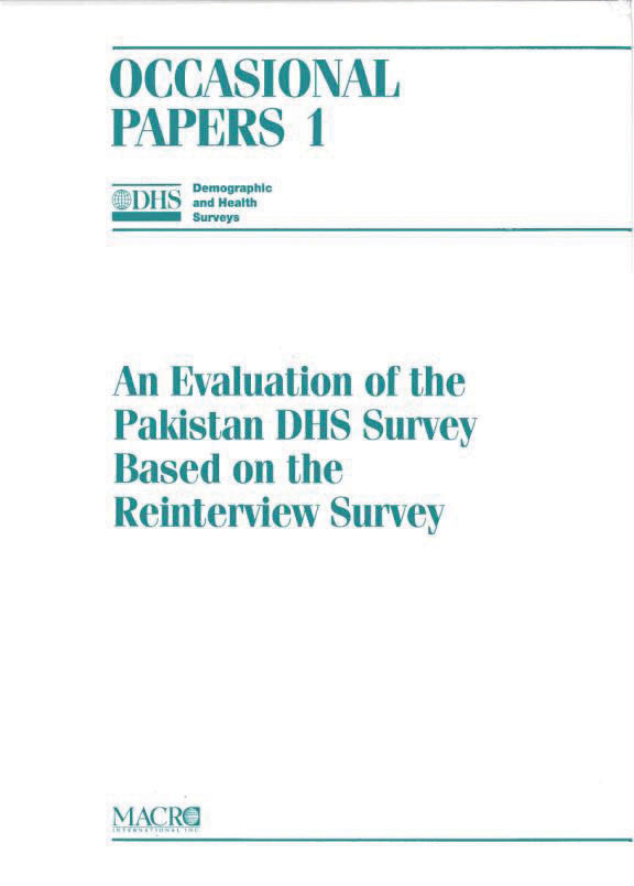 Cover of An Evaluation of the Pakistan DHS Survey Based on the Reinterview Survey (English)