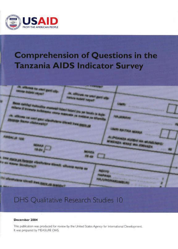 Cover of Comprehension of Questions in the Tanzania AIDS Indicator Survey (English)