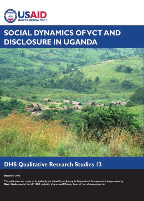Cover of Social Dynamics of VCT and Disclosure in Uganda (English)