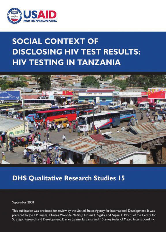 Cover of Social Context of Disclosing HIV Test Results: HIV Testing in Tanzania (English)