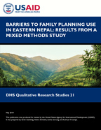 Cover of Barriers to Family Planning Use in Eastern Nepal: Results from a Mixed Methods Study (English)