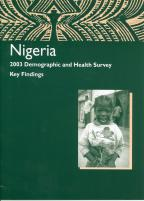 Cover of Nigeria DHS, 2003 - Key Findings (English)