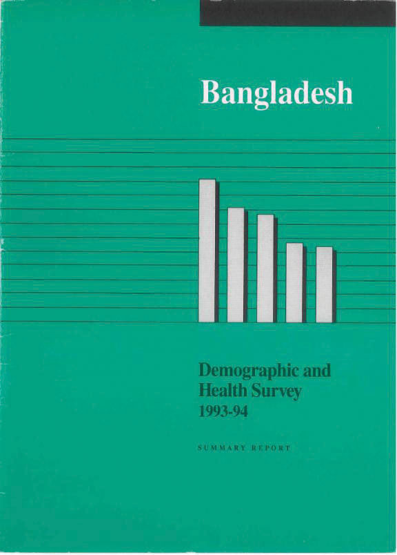 Cover of Bangladesh DHS, 1993-94 - Summary Report (English)