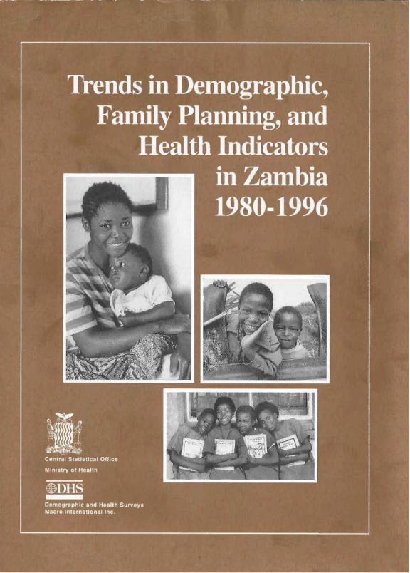 Cover of Trends in Demographic, Family Planning, and Health Indicators in Zambia 1980-1996 (English)