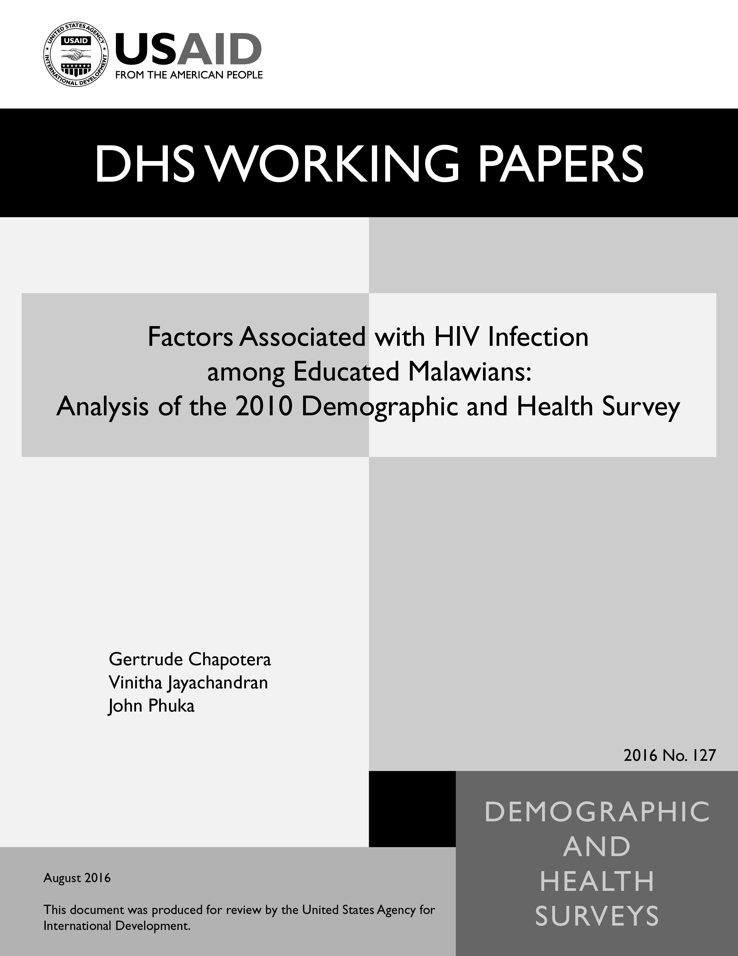 Cover of Factors Associated with HIV Infection among Educated Malawians: Analysis of the 2010 Demographic and Health Survey (English)
