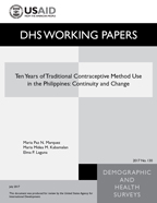 Cover of Ten Years of Traditional Contraceptive Method Use in the Philippines: Continuity and Change (English)