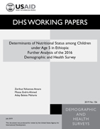 Cover of Determinants of Nutritional Status among Children under Age 5 in Ethiopia: Further Analysis of the 2016 Demographic and Health Survey (English)