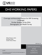 Cover of Coverage and Associated Factors for HIV Screening in Senegal: Analysis of the 2017 Demographic and Health Survey (English)
