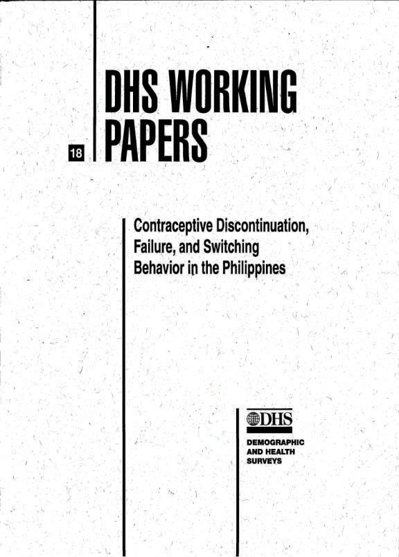 Cover of Contraceptive Discontinuation, Failure, and Switching Behavior in the Philippines (English)