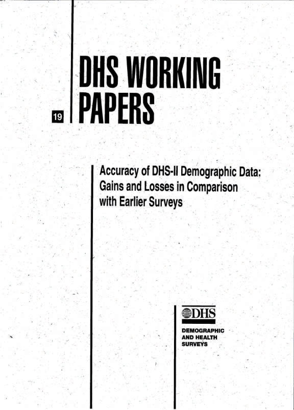Cover of Accuracy of DHS-II Demographic Data: Gains and Losses in Comparison with Earlier Surveys (English)