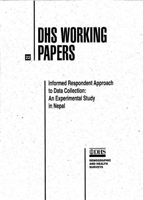 Cover of Informed Respondent Approach to Data Collection: An Experimental Study in Nepal (English)