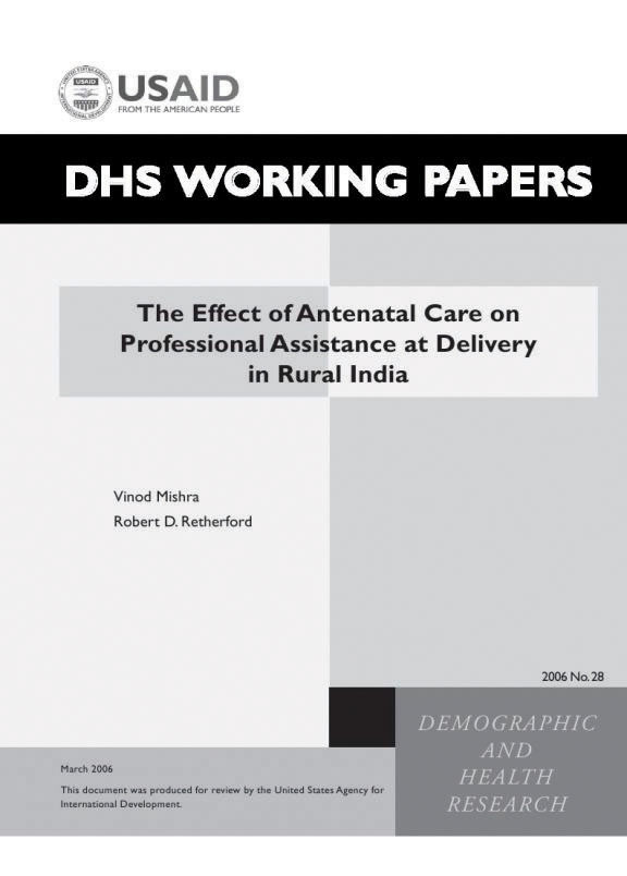 Cover of The Effect of Antenatal Care on Professional Assistance at Delivery in Rural India (English)