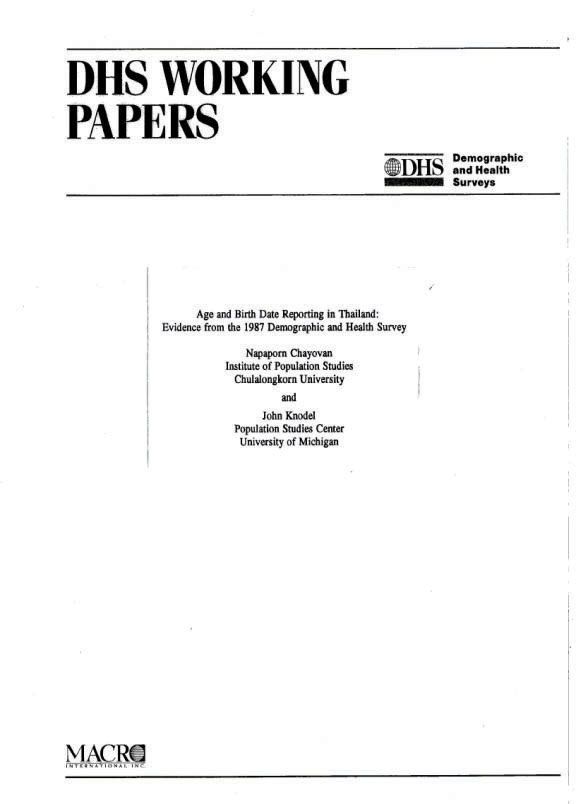 Cover of Age and Birth Data Reporting in Thailand: Evidence from the 1987 Demographic and Health Survey (English)