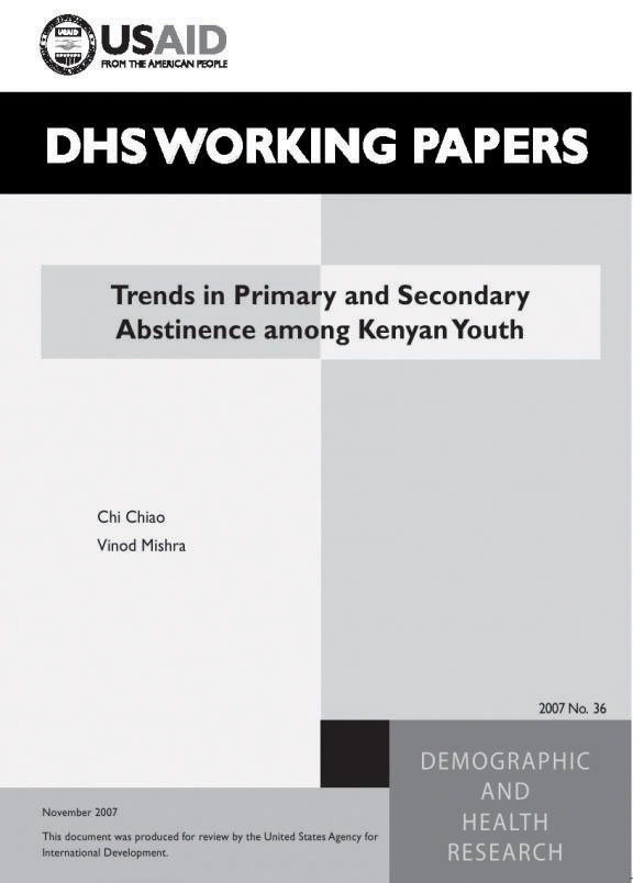 Cover of Trends in Primary and Secondary Abstinence among Kenyan Youth (English)