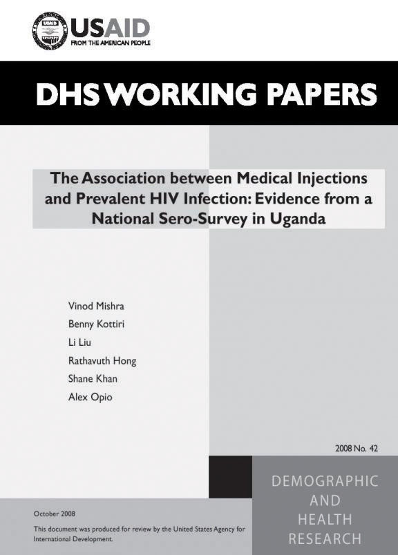 Cover of The Association between Medical Injections and Prevalent HIV Infection: Evidence from a National Sero-Survey in Uganda (English)