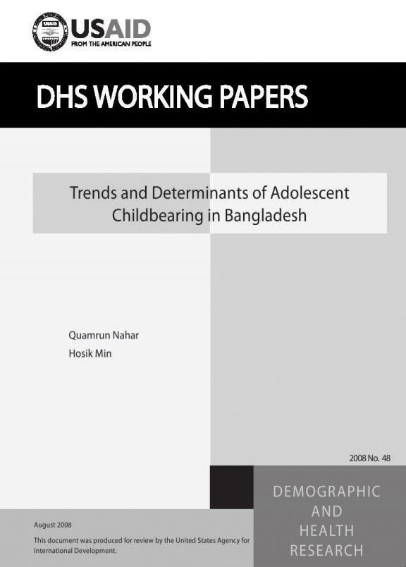 Cover of Trends and Determinants of Adolescent Childbearing in Bangladesh (English)