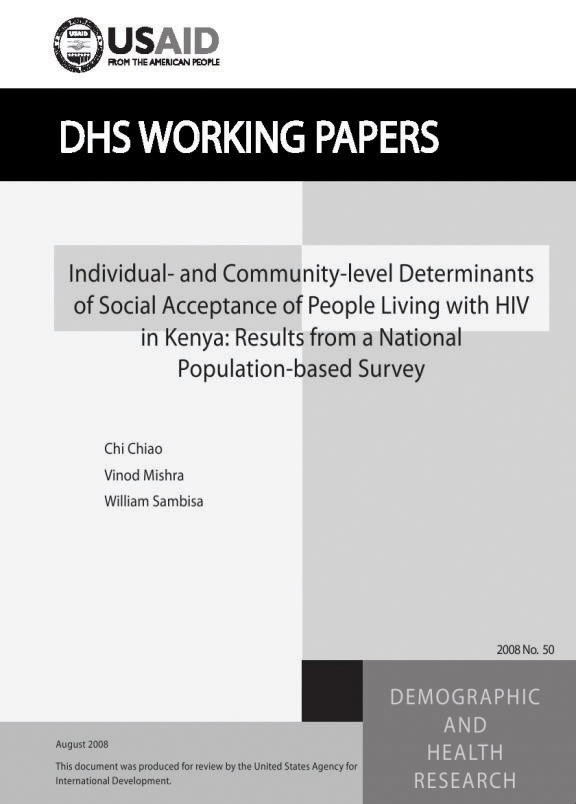 Cover of Individual- and Community-level Determinants of Social Acceptance of People Living with HIV in Kenya: Results from a National Population-based Survey (English)