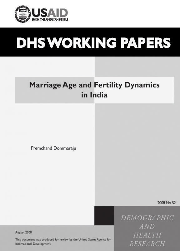 Cover of Marriage Age and Fertility Dynamics in India (English)
