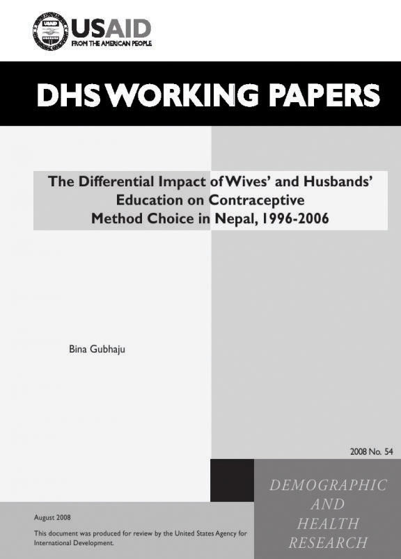 Cover of The Differential Impact of Wives' and Husbands' Education on Contraceptive Method Choice in Nepal, 1996-2006 (English)