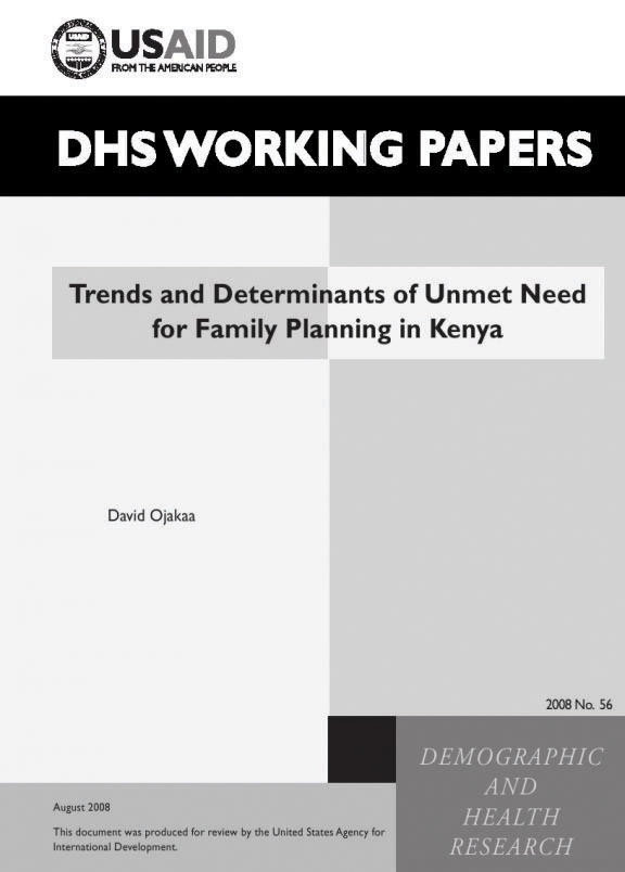 Cover of Trends and Determinants of Unmet Need for Family Planning in Kenya (English)