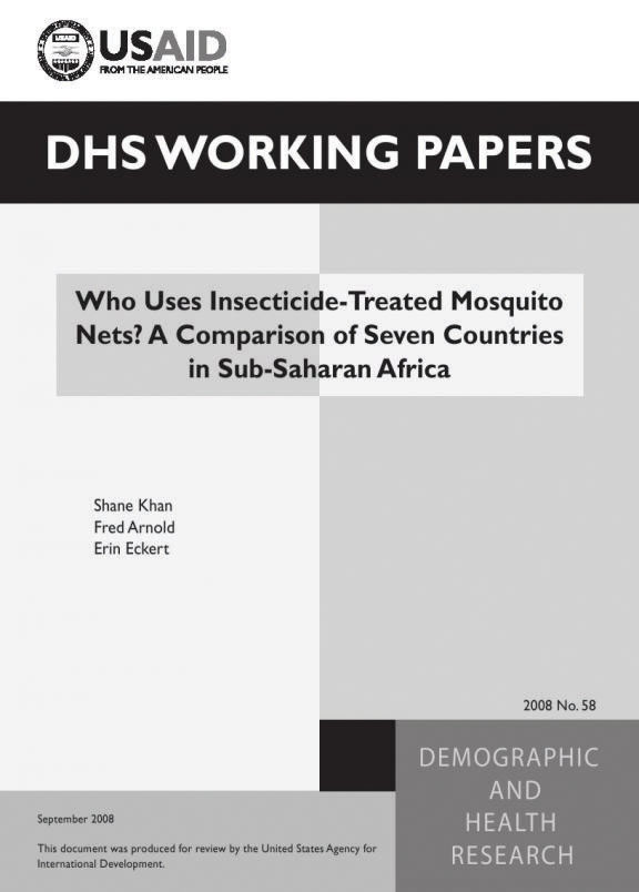 Cover of Who Uses Insecticide-Treated Mosquito Nets? A Comparison of Seven Countries in Sub-Saharan Africa (English)