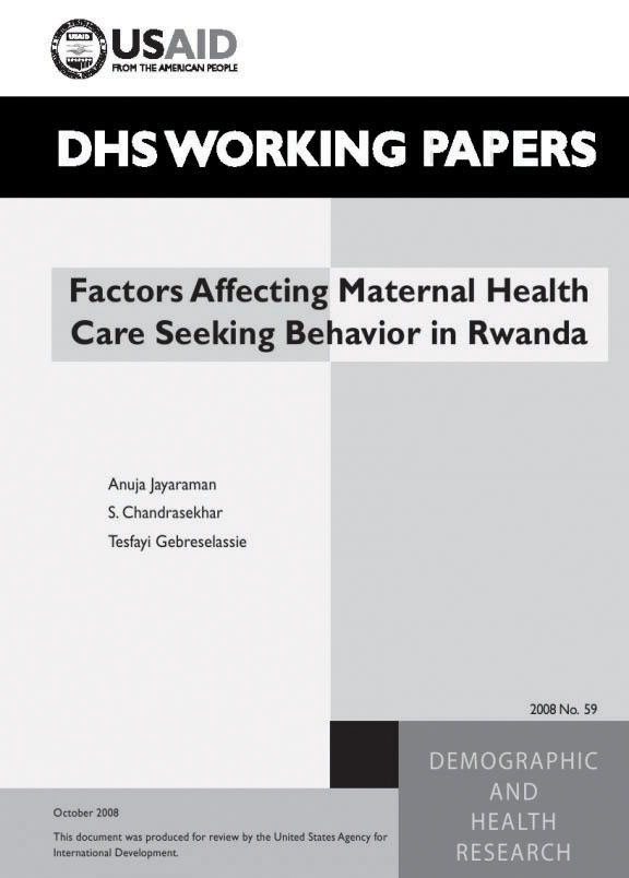Cover of Factors Affecting Maternal Health Care Seeking Behavior in Rwanda (English)