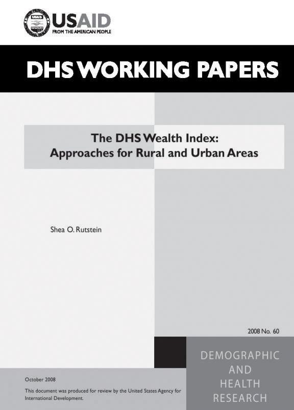 Cover of The DHS Wealth Index: Approaches for Rural and Urban Areas (English)