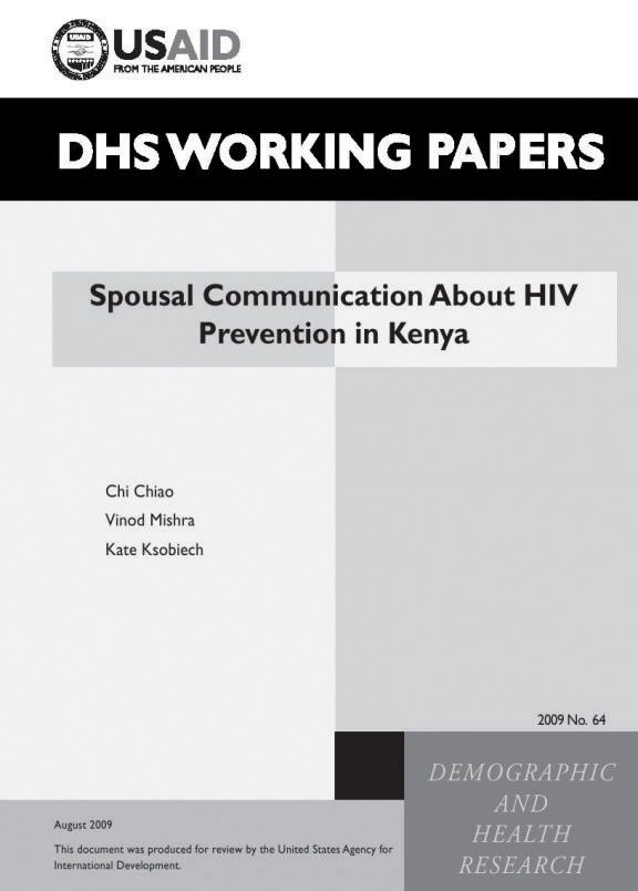 Cover of Spousal Communication About HIV Prevention in Kenya (English)
